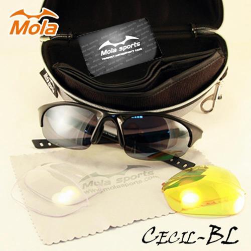 MOLA SPORTS 摩拉時尚運動太陽眼鏡-整組 小到一般臉型 騎車 高爾夫 跑步 棒球Cecil-Bl