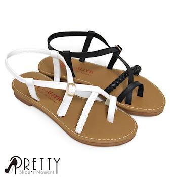 Pretty 釦飾編織交錯套趾平底涼鞋-白色、黑色