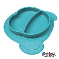 任-PUKU藍色企鵝 矽膠防滑餐盤-海水藍