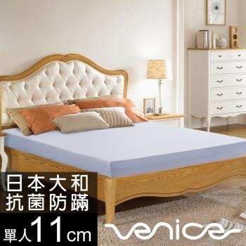 《搭不鏽鋼吸管組》Venice 日本防蹣抗菌11cm記憶床墊-單人3尺