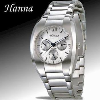 Hanna 品味三眼石英男錶(銀白)