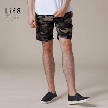 Life8-Casual 迷彩側袋 防潑水 抽繩短褲-迷彩【02421】