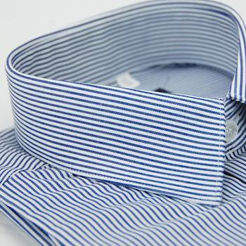 任-【金安德森】深藍色條紋窄版長袖襯衫