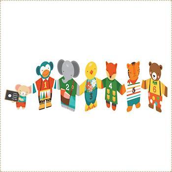 美國Petit Collage - 童書 : 動物拉拉手123數數書
