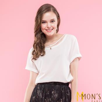 MONS造型珍珠吊飾圓領雪紡上衣