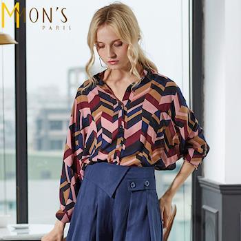 MONS歐美高質感雪紡幾何圖襯衫(CA6054)