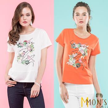 MONS時尚法式鑽飾繡花棉質上衣