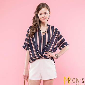 MONS時尚條紋V領造型上衣(CA7109)