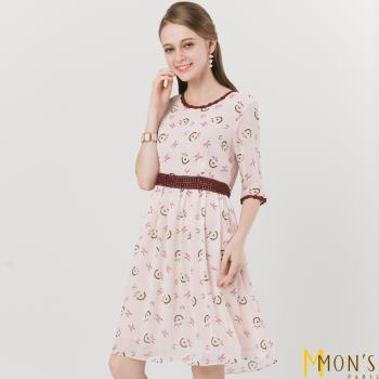 MONS印花蕾絲雪紡洋裝