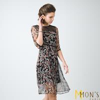 MONS微透膚優雅花卉100%蠶絲洋裝
