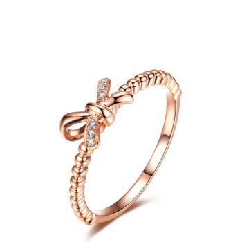 美玥珠寶 甜美蝶結天然鑽石戒指