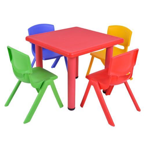 《WSH》韓式撞色多彩兒童遊戲桌椅(一桌二椅)-附學習圖案版/