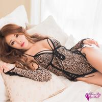 【Sexy Cynthia】性感睡衣 性感豹紋深V連身衣3件組