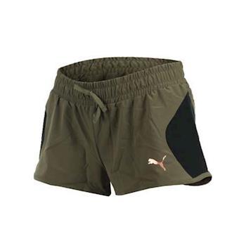 PUMA 女基本系列拼接短褲-路跑 慢跑 訓練 健身 運動短褲 三分褲 軍綠黑