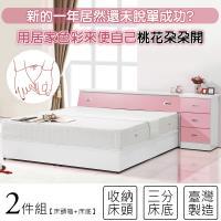 【KIKY】粉紅波莉浪漫主義雙人兩件床組(床頭+床底)