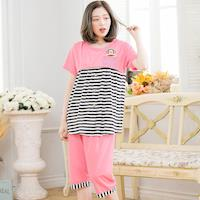 【lingling日系】全尺碼-條紋猴子哺乳孕婦裝居家二件式睡衣組(珊瑚紅)A3506-01