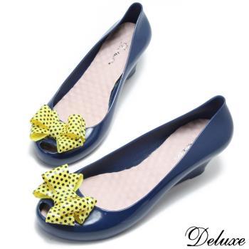 【Deluxe】俏皮可愛點點蝴蝶結魚口內增高雨鞋(藍)-339