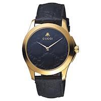 GUCCI古馳 G-TIMELESS 蜜蜂手錶 黑x金框 39mm YA1264034