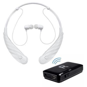 【ミミタカラ】充電頸掛式 藍芽助聽器(未滅菌)+藍芽發射器 超值組(白)
