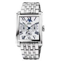 ORIS Rectangular 月相經典機械腕錶 白 33x46mm 0158176584071-0782382