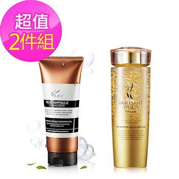 韓國AHC 安瓶玻尿酸精華清潔洗面凝露+24K金箔黃金水