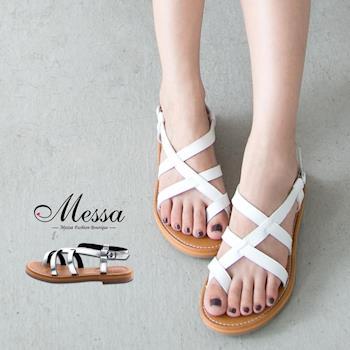 【Messa米莎專櫃女鞋】MIT 韓款女神系多層次繞帶套趾涼拖鞋 -兩色