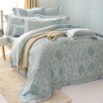法國CASA BELLE 雙人天絲刺繡防蹣抗菌吸濕排汗兩用被床包組-安格特