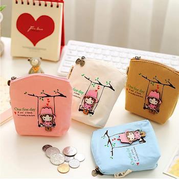 香草花園 韓版立體鞦韆女孩高質感大容量零錢包 零錢袋 文具袋