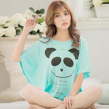 lingling日系 全尺碼-熊貓英字牛奶絲短袖二件式睡衣組(透亮藍綠)A3407-01
