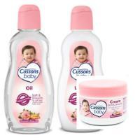 進口CUSSONS佳霜嬰兒潤膚油+乳液+面霜--杏仁+玫瑰精油各*2共(200ml/200ml/50g)*6瓶
