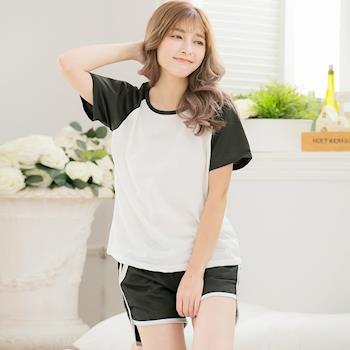 lingling日系 棒球T恤棉質短袖二件式睡衣褲組(極簡黑白)A3297-01