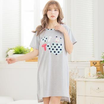 lingling日系 全尺碼-點點貓咪棉質短袖連身裙睡衣(簡約灰)A3290-02