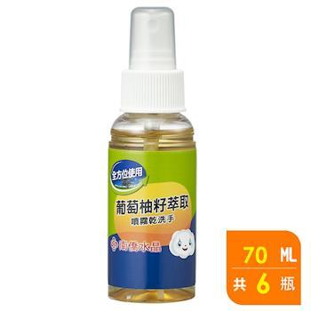 南僑水晶 葡萄柚籽噴霧乾洗手70ml X6 瓶