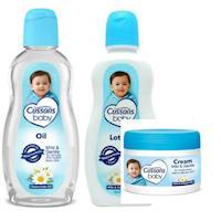 進口CUSSONS佳霜嬰兒潤膚油+乳液+面霜--牛奶+洋柑橘各*2共(200ml/200ml/50g)*6瓶