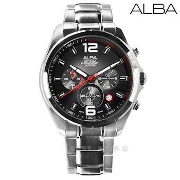 ALBA / VD53-X278D.AT3B71X1 / 日期顯示三眼計時藍寶石水晶玻璃防水不鏽鋼手錶 黑色 43mm