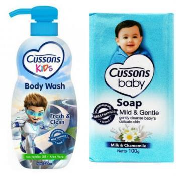 【Cussons 佳霜】兒童沐浴乳-荷荷巴油+蘆薈(350ml)*3+嬰兒潤膚香皂(100g)*12