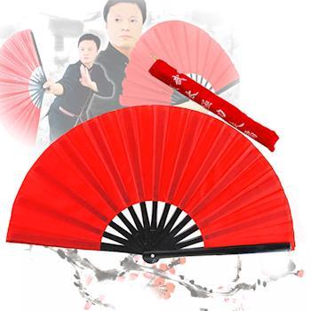 【輝武】武術用品-全竹骨易開合-黑骨素面紅太極扇 (1把)