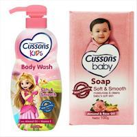 【Cussons 佳霜】兒童沐浴乳-杏仁油+維他命E(350ml)*3+嬰兒潤膚香皂(100g)*12