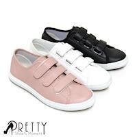Pretty 百搭款三帶魔鬼氈休閒鞋-粉紅色、白色、黑色