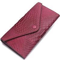 【米蘭精品】長夾真皮皮夾-信封包鱷魚紋純色長款女手拿包5色73ny16