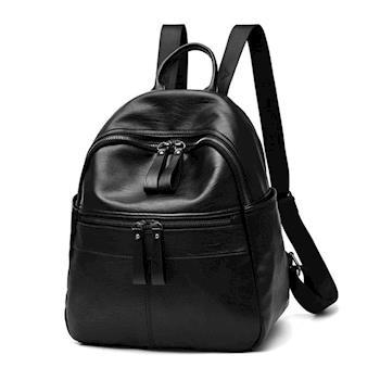 【L.Elegant】時尚學院風休閒雙肩後背包 黑色