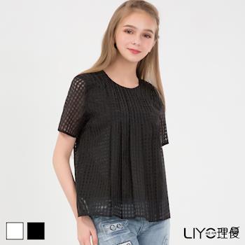 【LIYO理優】襯衫格紋微透膚圓領上衣 625035