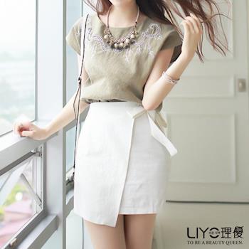 【LIYO理優】裙子斜邊綁帶短裙623010