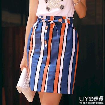 【LIYO理優】裙子直條紋拚色窄裙623008