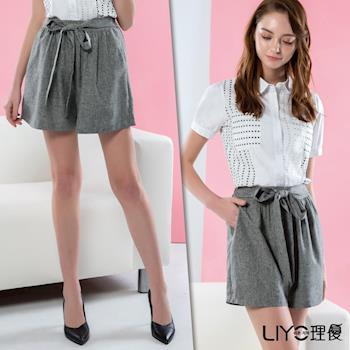 【LIYO理優】褲子高腰綁帶褲裙 621041