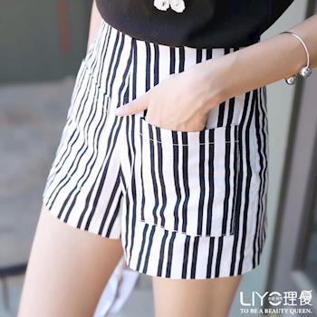 【LIYO理優】褲子直條紋高腰短褲 621039
