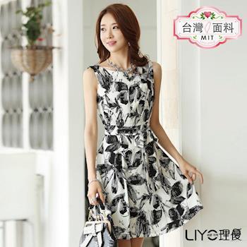 【LIYO理優】洋裝MIT印花無袖洋裝-附綁帶 526029