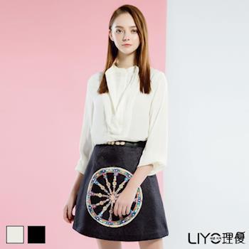 【LIYO理優】雙層拼接立領雪紡長袖襯衫 515003