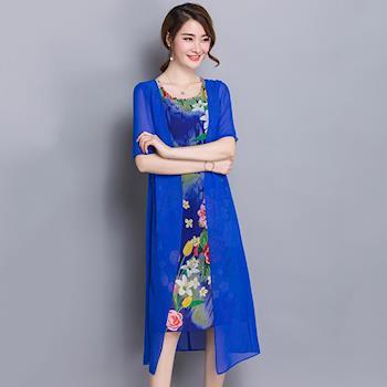 Jisen-寫意印花雅致雪紡洋裝