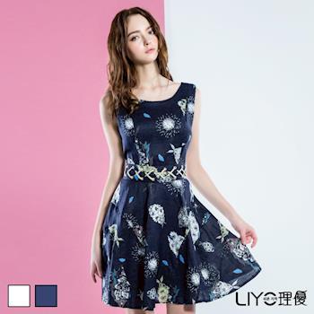 【LIYO理優 】歐風洋裝印花後V領洋裝626091